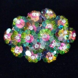 Vintage Estate Glass Flower Rhinestone Brooch EUC
